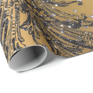 French Black Lace Royal Floral Hearts Damask Gold Wrapping Paper