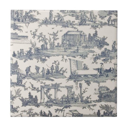 French Blue and Ivory Toile Ceramic Tile