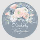 French Blue and Quartz Rose Floral Wedding Classic Round Sticker
