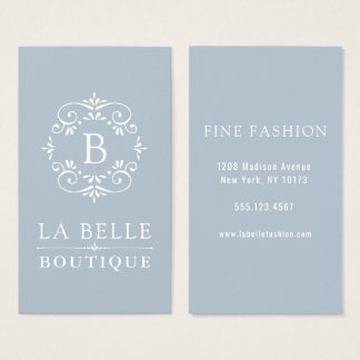 French Blue and White Elegant Monogram Business Card