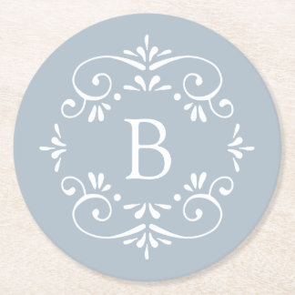 French Blue and White Elegant Monogram Round Paper Coaster