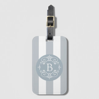 French Blue Awning Stripes with Monogram Luggage Tag