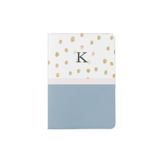 French blue blush pink gold glitter color block passport holder