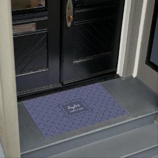 French Blue Damask stylish personalised Doormat