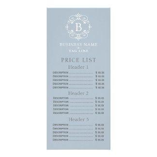 French Blue Elegant Monogram Price List Rack Card