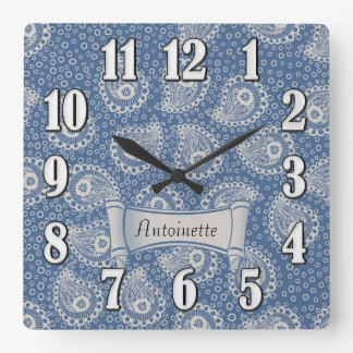French Blue Off-White Paisley Monogram Wall Clock