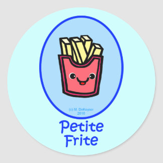 French - Blue Small Fry - French Fries Round Sticker
