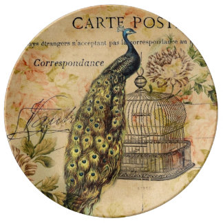 french botanical art nouveau vintage peacock plate