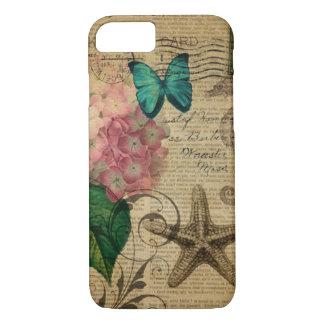 French botanical art seashell floral hydrangea iPhone 7 case