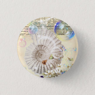 French botanical butterfly modern vintage seashell 3 cm round badge