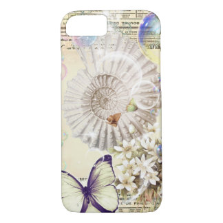French botanical butterfly modern vintage seashell iPhone 8/7 case