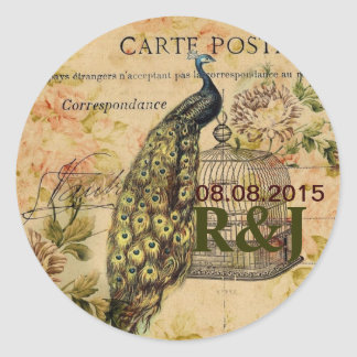 french botanical floral birdcage vintage peacock classic round sticker