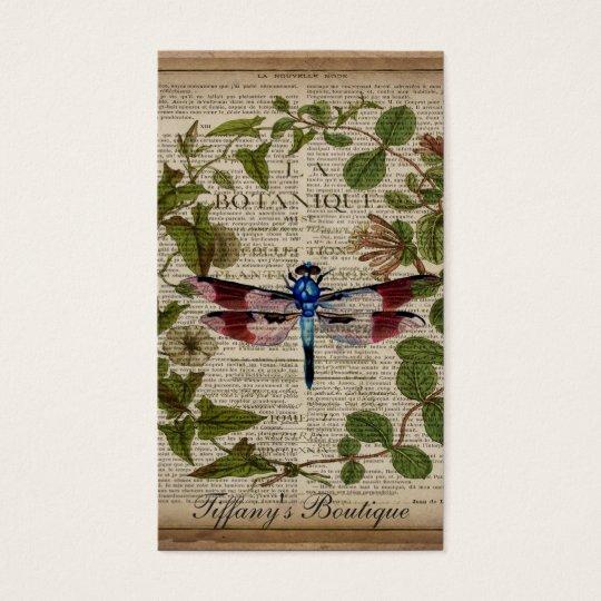 french botanical leaves modern vintage dragonfly business card