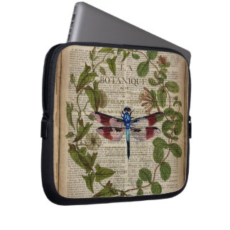 french botanical leaves modern vintage dragonfly laptop sleeve