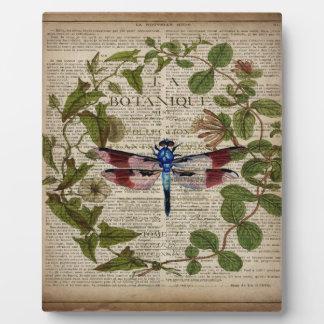 french botanical leaves modern vintage dragonfly plaque