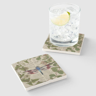 french botanical leaves modern vintage dragonfly stone coaster