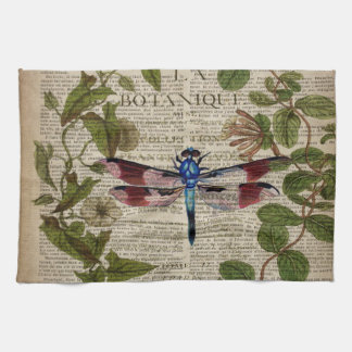french botanical leaves modern vintage dragonfly tea towel