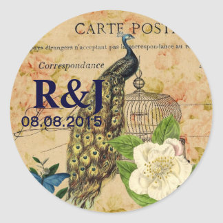 french botanical rose birdcage vintage peacock round sticker