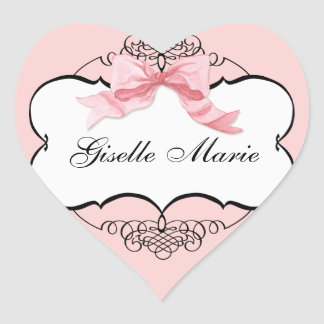 French Bow n Dots Girl Baby Shower Sticker Seal