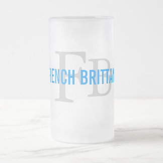 French Brittany Breed Monogram Design Frosted Glass Mug