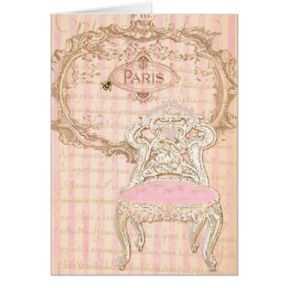 French Brocante Royale Pink de la Queen's Chair Greeting Card