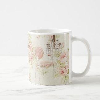 French Budoir  Vintage Pink Floral Chandelier Coffee Mug