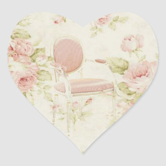French Budoir  Vintage Pink Floral Chandelier Heart Sticker