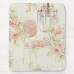 French Budoir  Vintage Pink Floral Chandelier Mouse Pad