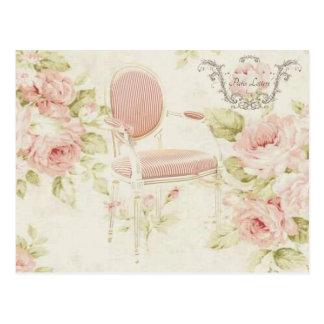 French Budoir Vintage Pink Floral Chandelier Postcard