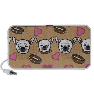 French bull dog and hearts pattern speaker