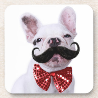 French Bull Dog Puppy With Mustache 2 Coaster