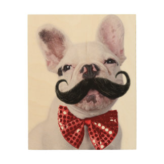French Bull Dog Puppy With Mustache 2 Wood Wall Art