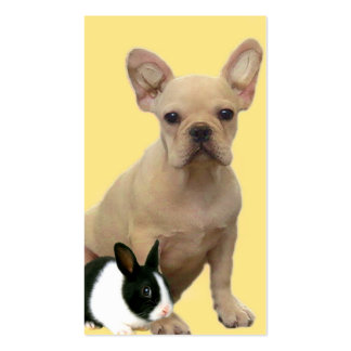 French Bulldog and bunny business card