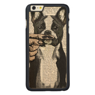 French Bulldog and Finger Moustache Carved Maple iPhone 6 Plus Case