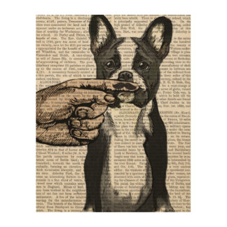 French Bulldog and Finger Moustache Wood Wall Art