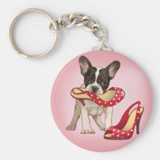 French bulldog and polka dot shoe basic round button key ring