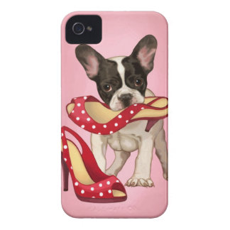 French bulldog and polka dot shoe Case-Mate iPhone 4 case