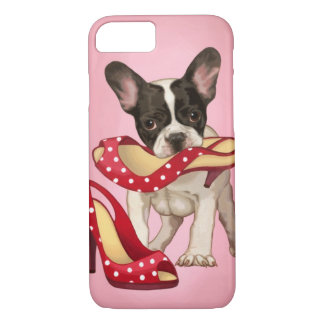French bulldog and polka dot shoe iPhone 8/7 case