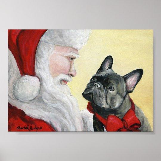 French Bulldog and Santa Claus Art Print Poster