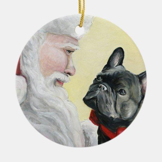 French Bulldog and Santa Dog Christmas Ornament