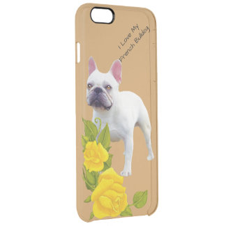 French Bulldog and yellow roses Clear iPhone 6 Plus Case