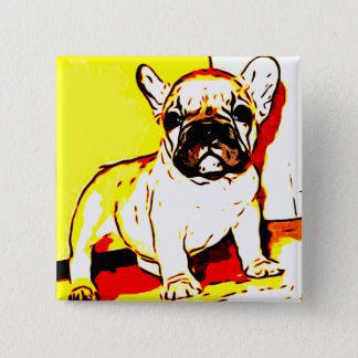 French Bulldog Art 15 Cm Square Badge