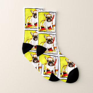 French Bulldog art dog socks 1