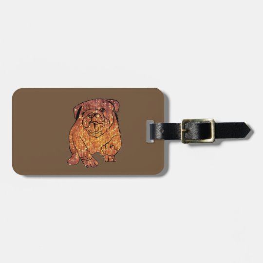 French Bulldog Art Luggage Tag w/ leather strap