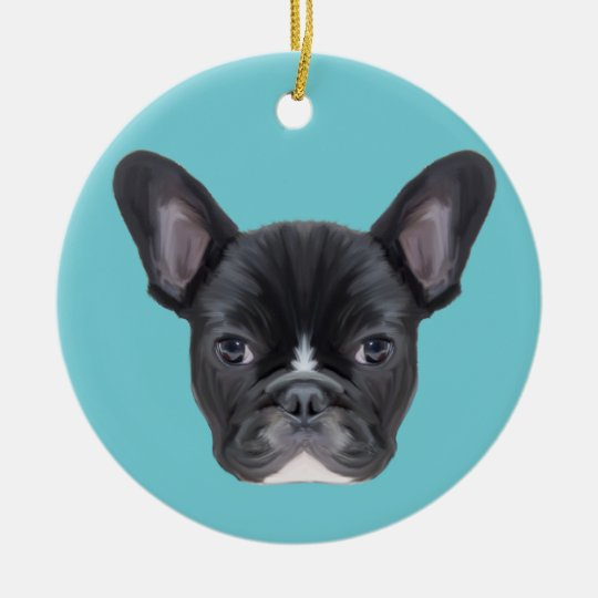 French Bulldog Art Portrait Christmas Ornament