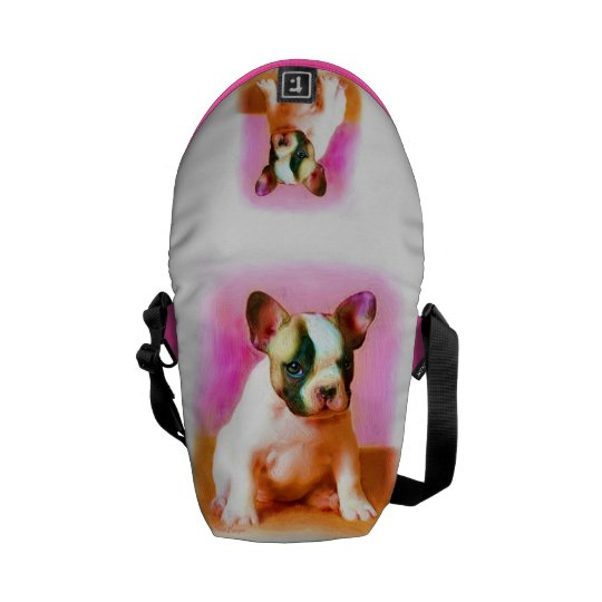 French bulldog art small Rickshaw messenger bag