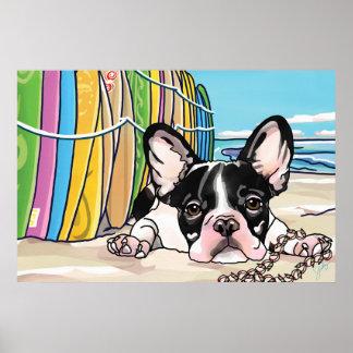 French Bulldog at Ocean, Hawaii Poster