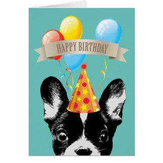French Bulldog & Balloons Happy Birthday Card