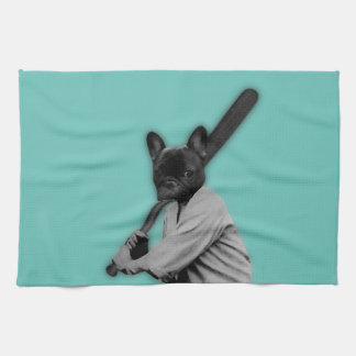 French Bulldog Baseball Player Tea Towel
