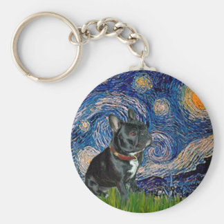 French Bulldog (black 11) - Starry Night Key Ring